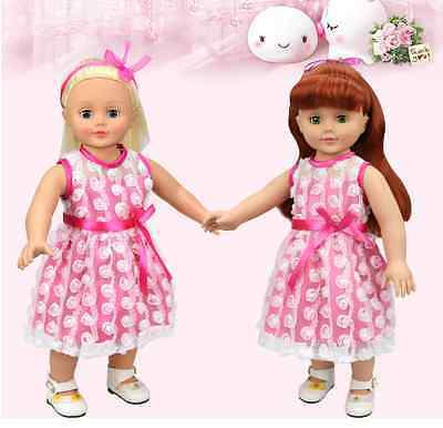 Handmade new Pink clothes dress for 18 inch American girl doll party  AAA