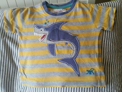 monsoon baby boys t shirt 3-6 months shark yellow grey striped
