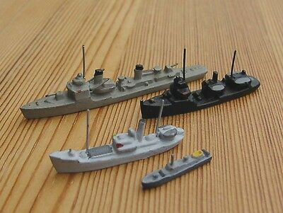 1/1250 four 4x miscellaneous models VESSELS SHIPS BOATS coastal harbor wargamers