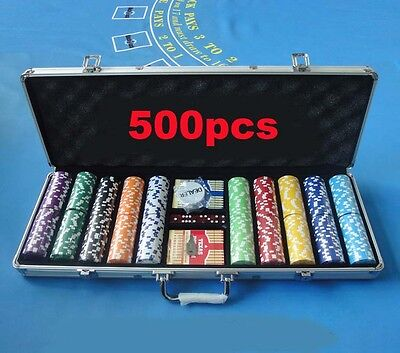 500pcs Poker Chips Set with Suitcase&Poker Table cloth&2 Plastic Playing Cards