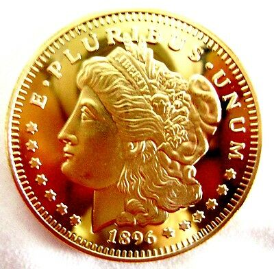 1 oz MORGAN 1896 AMERICAN EAGLE finished in 999 24k Gold Collector Medallion