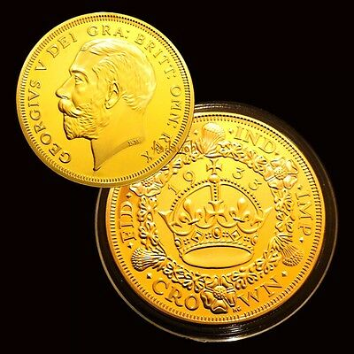 1 oz 1933 Wreath Christmas Crown George finished in 999 24k Gold Medallion