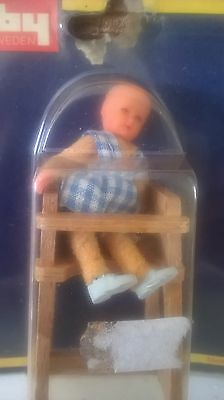 Vintage Lundby Dolls House baby in highchair RARE 1270 new in original packaging