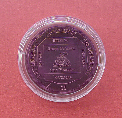 British Virgin Islands 2004 Guiana Stamp 5 Dollars Titanium Coin
