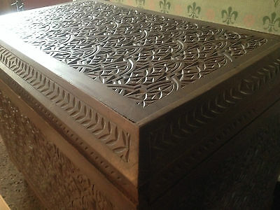 Spanish Moorish Coffer carved anglo indian chest Victorian 19th century style