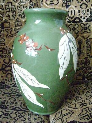 royal barum ware c h brannam large green vase relief berry and leaf deco