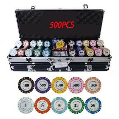 500pcs Texas Poker Chips Set with Suitcase&Poker Table cloth&2 Playing Cards
