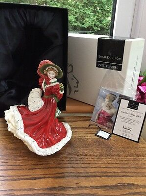 """Royal Doulton Pretty Ladies Figurine """"Christmas Day 2005"""" With COA Boxed Mint"""