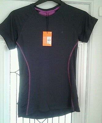 Bnwt Workout By Atmosphere Grey Stretch Short Sleeved Top Size Uk 10