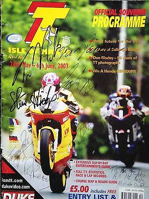 Signed 2003 TT Programme by Hislop, R-Dunlop, Read, Robb, Law, Nation, plus 2.