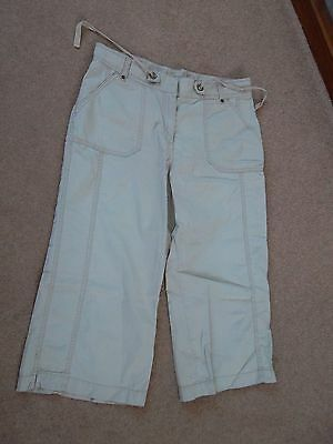 M&s Ladies Stone Crop Casual Trousers Size 12