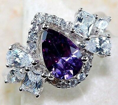 1.1CT Fashion Jewelry 925 Silver Amethyst Wedding Engagement Ring Size 6