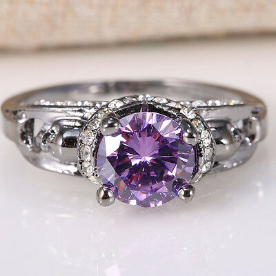 Natural 1Ct Amethyst 925 Silver Women Wedding Engagement Ring Size 7