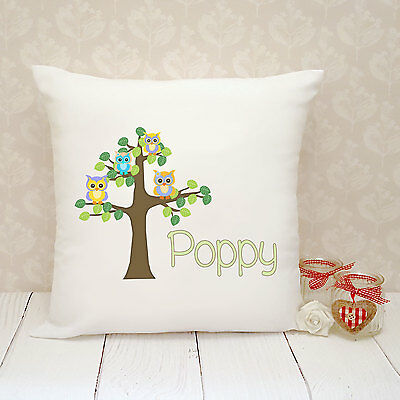 Personalised Cushion Cover - Present Gift - Owl Family