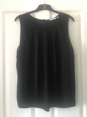 New Look Black Top With Lace Detail Size 16