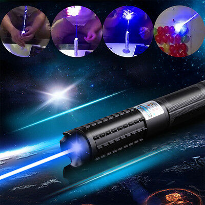 Powerful 450nm Blue Laser Pointer Focusable Lazer Pen Burning Paper Cigarette