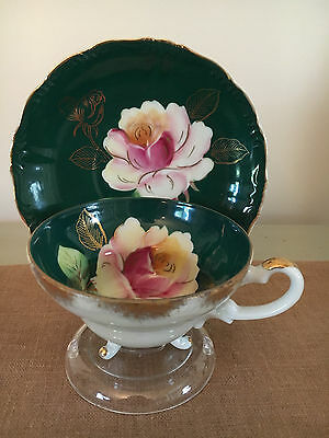 Stunning Vintage Fine China Footed Tea Cup and Saucer