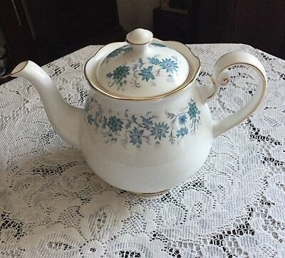 Pretty Vintage Colclough Bone China Teapot White With Blue Flowers