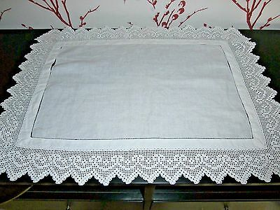 "PRETTY VICTORIAN WHITE COTTON with HAND WORKED CROCHET LACE TABLECLOTH~22"" x 16"""