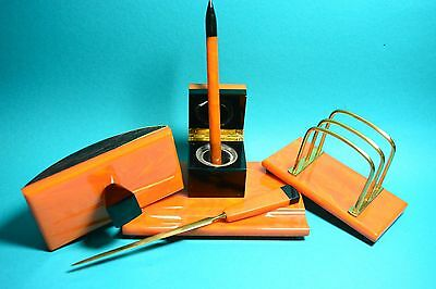 Vintage Art Deco Marbled Yellow AMBER BAKELITE CATALIN Inkwell Desk Writing Set
