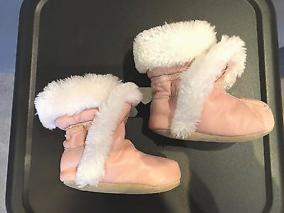 Baby Girl Ugg Booties Pink Soft Leather Shoes Faux Wh Fur Lining Winter Warm