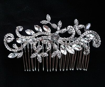 Bridal Wedding Rhinestones Crystal Diamante Vintage Silver Hair Comb Headpiece