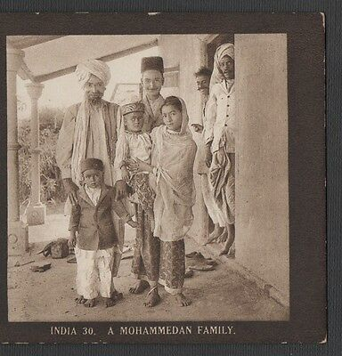 """ India - A Mohammedan Family "" -  Vintage  Original  Stereoview"