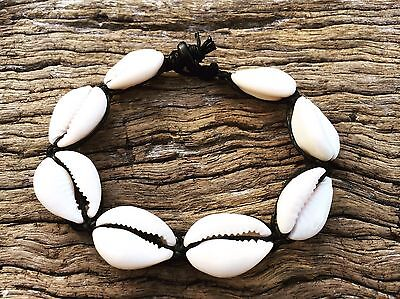 Hand Made Black Hemp Shell Anklet with Cowrie Shells, SMALL Sea Gypsy Bohemian