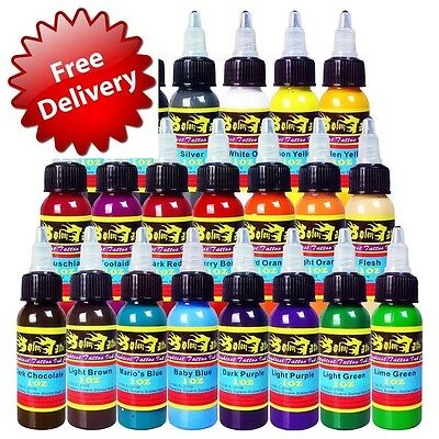 Solong Tattoo 21 Basic Colours Tattoo Ink Set Pigment Kit 1oz 30 ml Professional