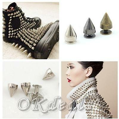 100 Pcs Accessories Clothing Metal Bullet Rivet Spikes 7*9.5mm Leather Craft