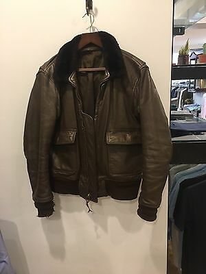 Men's Leather Vintage USN Flying Jacket FITS MEDIUM