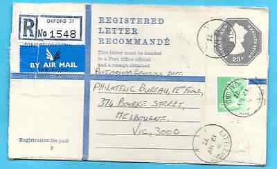 Littlemore, Oxford cds Great Britain registered cvr w/ MACHIN - to Australia