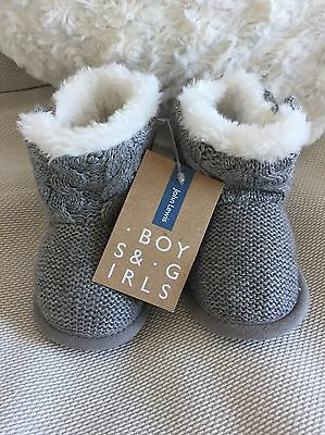 John Lewis Unisex Fur Lined Knitted Boots 3-6 Months Brand New With Tags