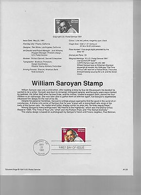 2538 FDC 29c WILLIAM SAROYAN USPS SOUVENIR PAGE