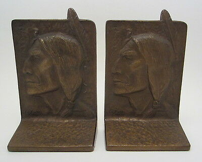 American Arts & Crafts Bronze American Indian Motif Bookends