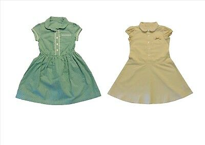 Girls Green and Yellow Gingham School Summer dresses 3-13 Years