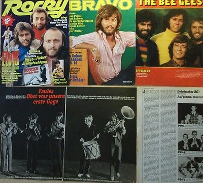 6 german clipping BEE GEES BARRY ROBIN MAURICE GIBB N. SHIRTLESS BOYS BOY BAND