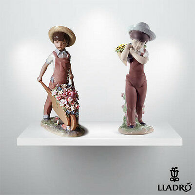 "Lladro Lot ""GATHERING FLOWERS "" + ""WHEELBARROW WITH FLOWERS """