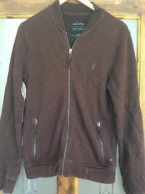 All Saints men oldsen sweat bomber jacket/top Small, S, brown