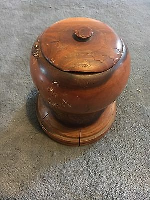 Treen Desk Pot With Lid
