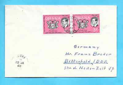 Ghana 1960 postally used to Germany - solo usage of Prince Philip combo