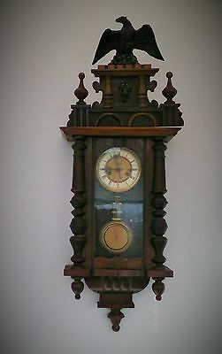 Large Antique Wall Clock with Eagle - Pendulum and Chimes - Good working order