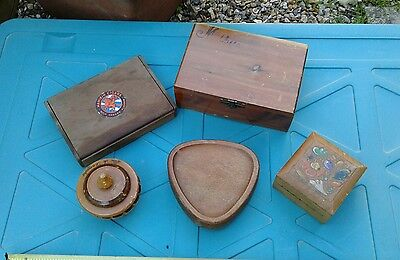 Joblot of  Old Vintage  Wooden Boxes,treen ?