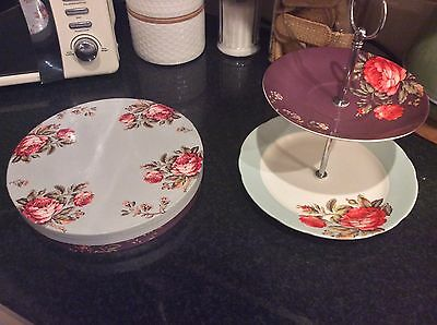 Cake Stand. Vintage Design.  Porcelain. Floral Shabby Chic. Boxed. NEVER USED.