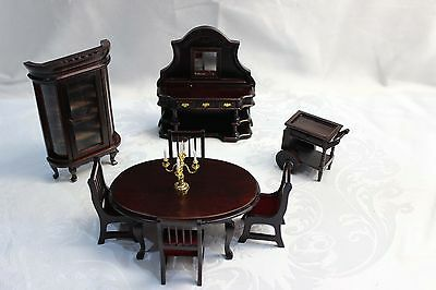 Vintage Dolls House Furniture Mahogany Red/Brown Dining Suite NEW