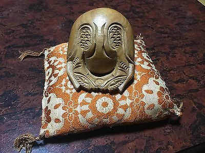 Japanese small MOKUGYO Fishshaped drum for Buddhist, cushion incl. -  7.5 x 9cm