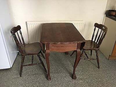 Vintage Wooden Dinner Table Kitchen Table with 2 chairs
