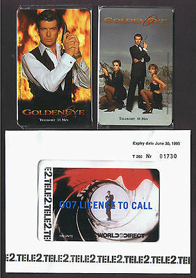 Sweden James Bond GOLDENEYE pair mint sealed & 007 Licence To Call - 1996-7.