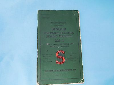 Singer 221 Featherweight Manual Instructions **original** - Very Good Condition
