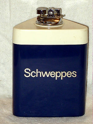 """Large Vintage Sand Filled Schweppes Bar/table Lighter 6 1/4"""" Tall Nice Condi Gwo"""